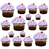 Sherri Blum Large Purple Cupcake Wall Stickers