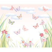 Jennifer Clarke Butterfly Flower Wall Mural