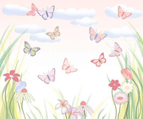 Jennifer clarke butterfly flower wall mural for Mural flower