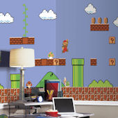 Retro Super Mario XL Wall Mural 6.5 x 10 Feet