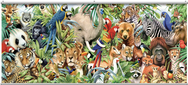 Jungle animals minute mural for Animal wall mural