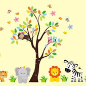 Jungle Tree and Branch Animal Wall Decals