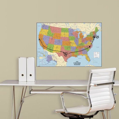 USA Dry Erase Peel and Stick Map - Wall Sticker Outlet