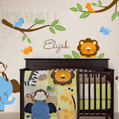 Blue Safari Animals with Branches Wall Decals