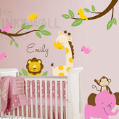 Pink Safari Animals with Branches Wall Decals