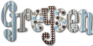 Blue and Chocolate Striped Wooden Wall Letters - Kids Wall Decor Store