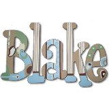 Blue Retro Wooden Wall Letters