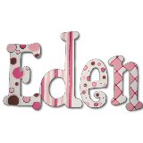 Pink and Chocolate Stripes Wooden Wall Letters