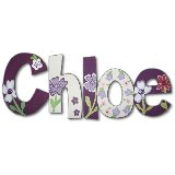 Purple Floral Wooden Wall Letters