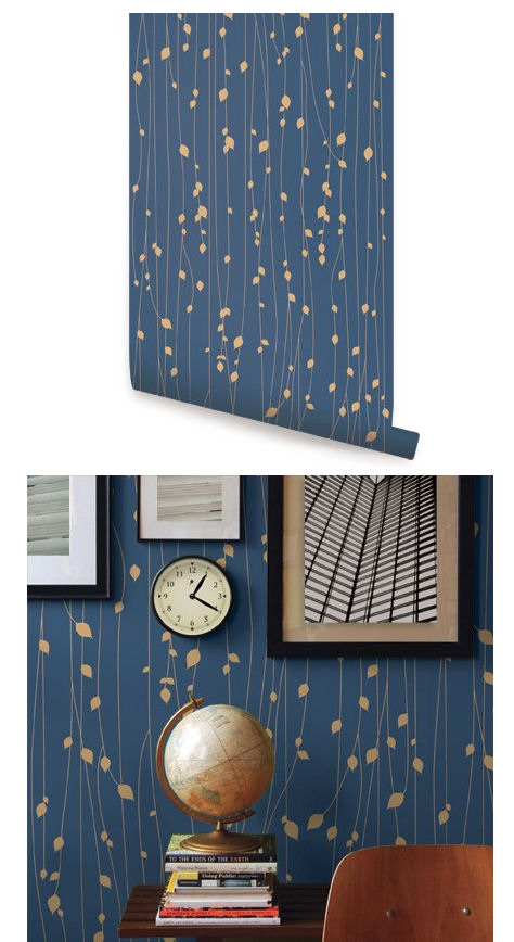 Leaves Navy Blue Peel And Stick Wallpaper