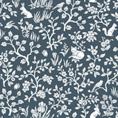 Magnolia Home Fox and Hare Navy Wallpaper