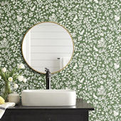Magnolia Home Fox and Hare Forest Green Wallpaper