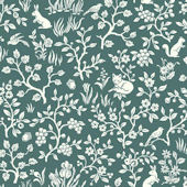 Magnolia Home Fox and Hare Teal Wallpaper