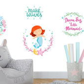 Mermaid Making Waves Wall Decals