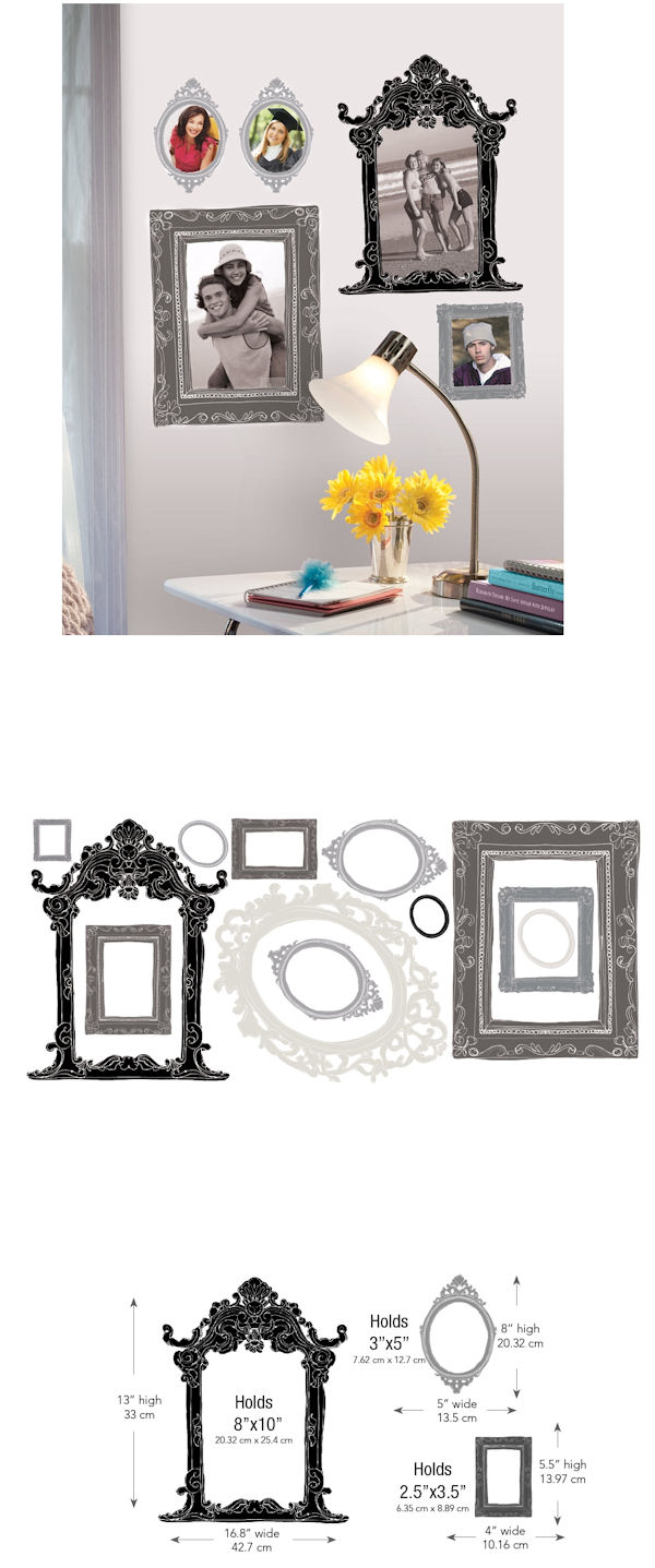 Metallic Black and Silver Peel and Stick Frames - Wall Sticker Outlet