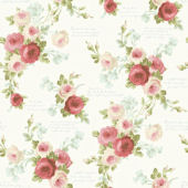 Magnolia Home Heirloom Rose Red White Wallpaper