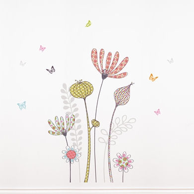 mia&co Flowers and Butterflies Transfer Wall Decal - Wall Sticker Outlet