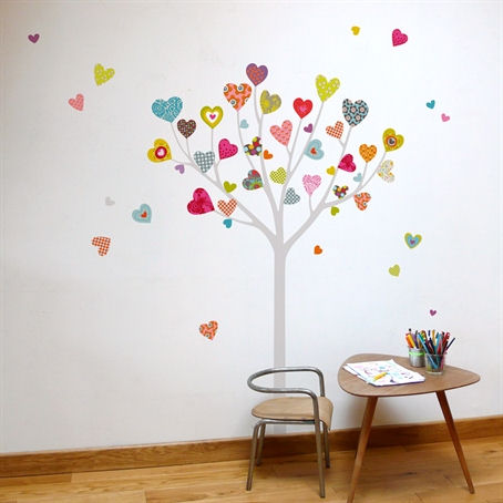 Mia co heart tree giant transfer wall decals - Stickers arbre chambre fille ...