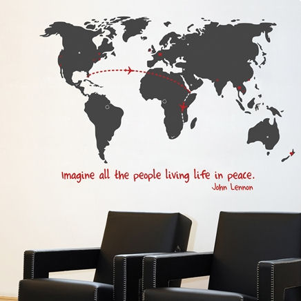 mia&co World Map Giant Transfer Wall Decals - Wall Sticker Outlet