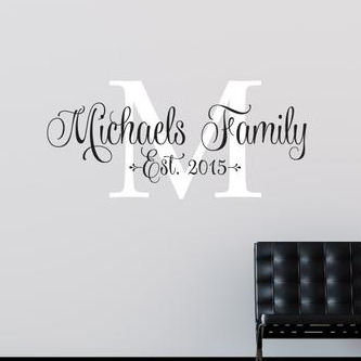 Family Personalized Pretty Script Monogram Decal - Wall Sticker Outlet