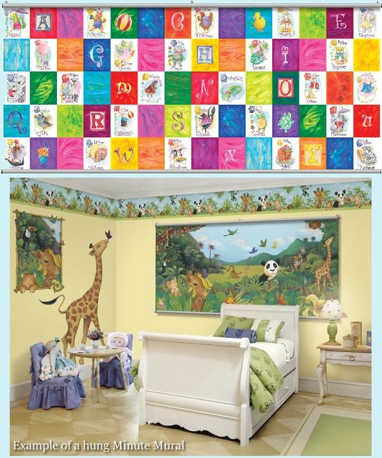 Alphabet Primary Minute Mural - Kids Wall Decor Store