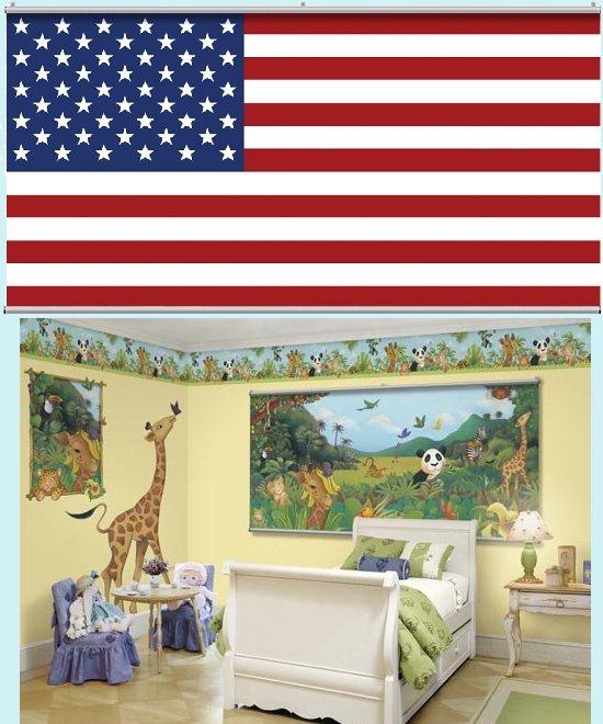 American Flag Minute Mural - Kids Wall Decor Store