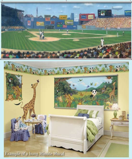 Baseball minute mural kids wall decor store for Baseball mural wallpaper