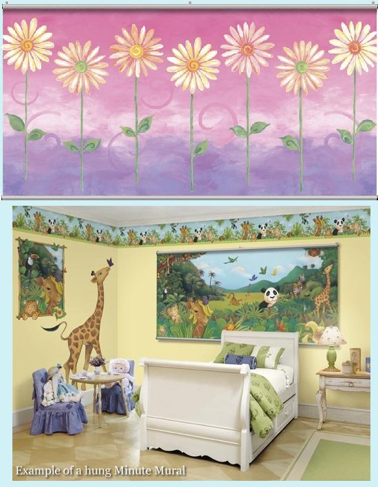Daisies Pink Minute Mural - Kids Wall Decor Store