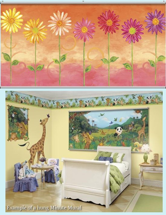 Daisies Orange Minute Mural - Kids Wall Decor Store