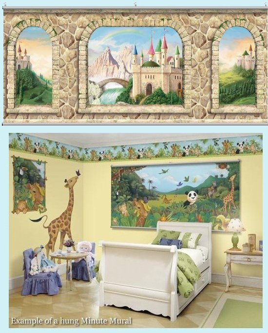 Castle stone wall minute mural kids wall decor store for Castle wall mural wallpaper