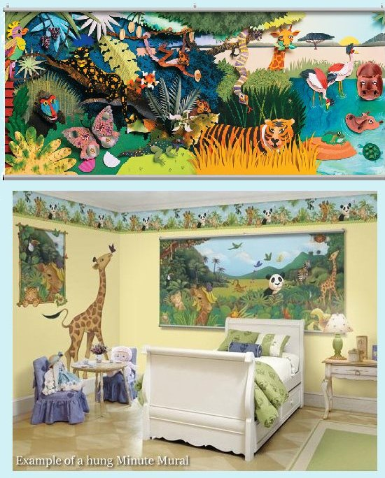 Colorful 3D Safari One Wall Minute Mural - Kids Wall Decor Store