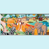 Colorful 3D Safari Two Wall Minute Mural