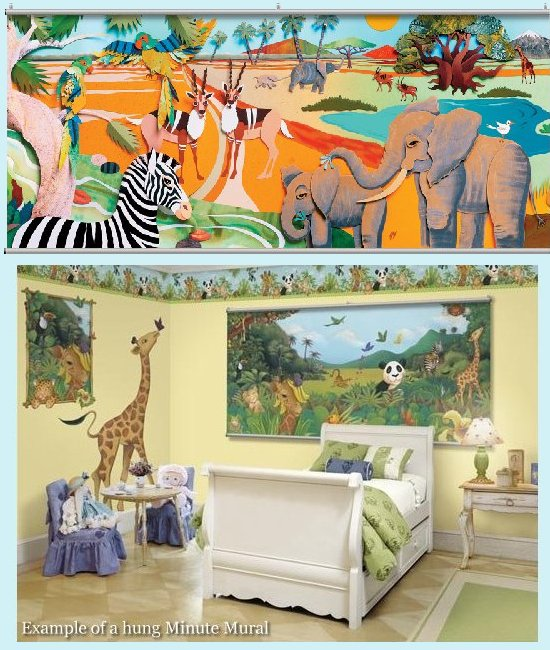 Colorful 3D Safari Two Wall Minute Mural - Kids Wall Decor Store