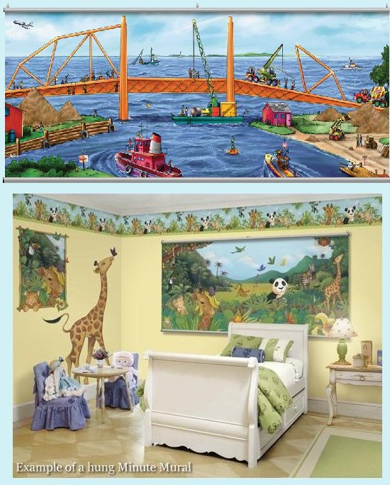 Construction Wall Minute Mural - Kids Wall Decor Store