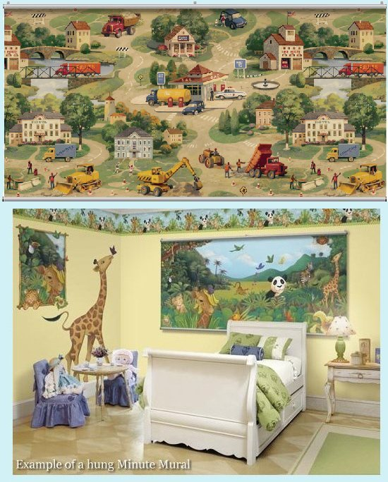 Construction Zone Wall Minute Mural - Kids Wall Decor Store