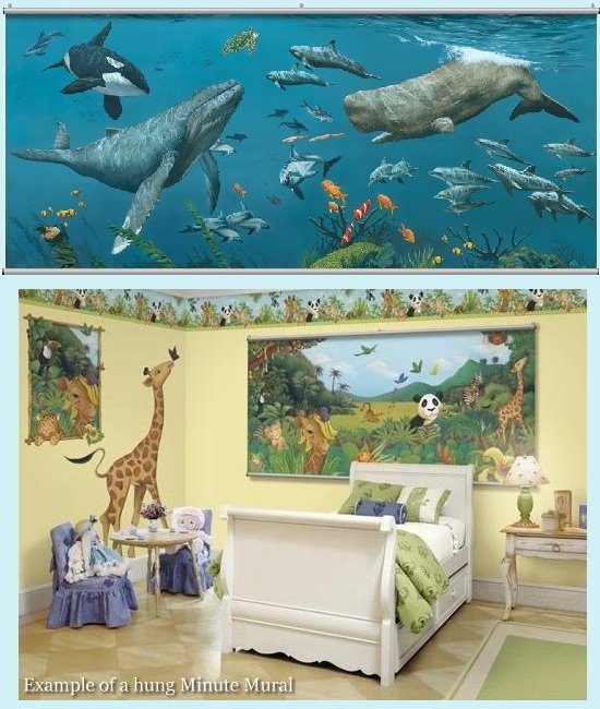 Deep Sea Whales Wall Minute Mural - Kids Wall Decor Store