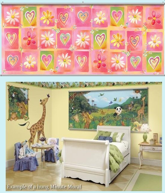 Hearts and Flowers Wall Minute Mural - Kids Wall Decor Store