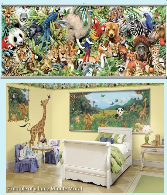 Jungle Animals Wall Minute Mural - Kids Wall Decor Store