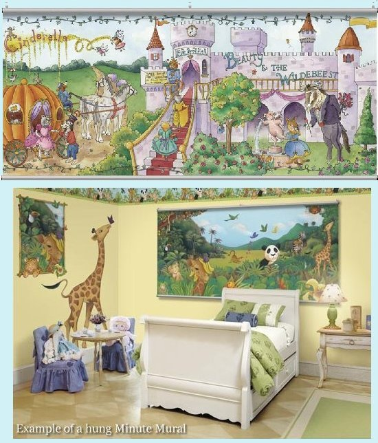 Once upon a time fairy tales wall minute mural kids wall for Fairy tale wall mural