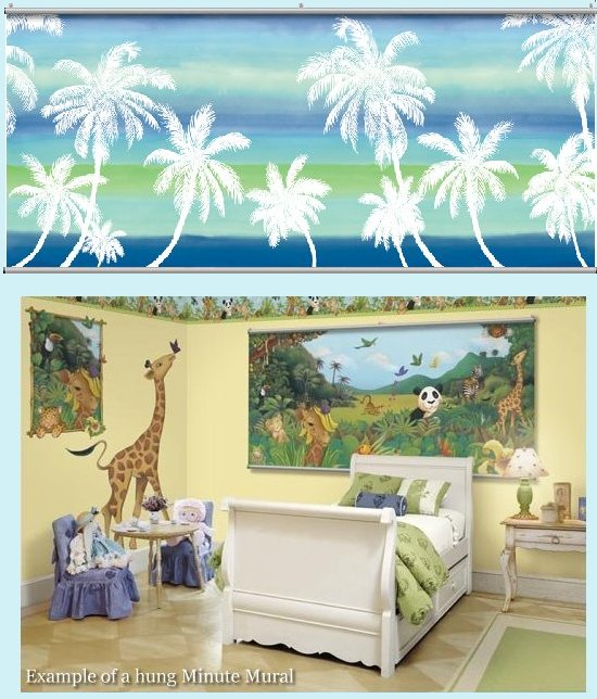 Retro Palm Blue Wall Minute Mural - Kids Wall Decor Store