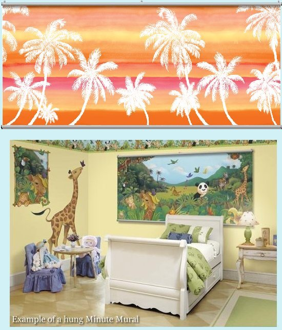 Retro Palm Pink Wall Minute Mural - Kids Wall Decor Store