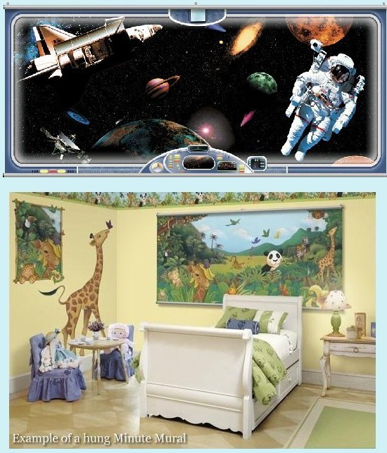 Space Ship Window Wall Minute Mural - Kids Wall Decor Store