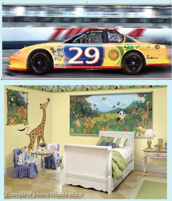 Stock Car Racing Wall Minute Mural - Kids Wall Decor Store