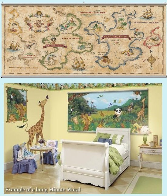Treasure Map Antique Wall Minute Mural - Kids Wall Decor Store
