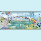 Watercolor Journey Bridge Wall Minute Mural