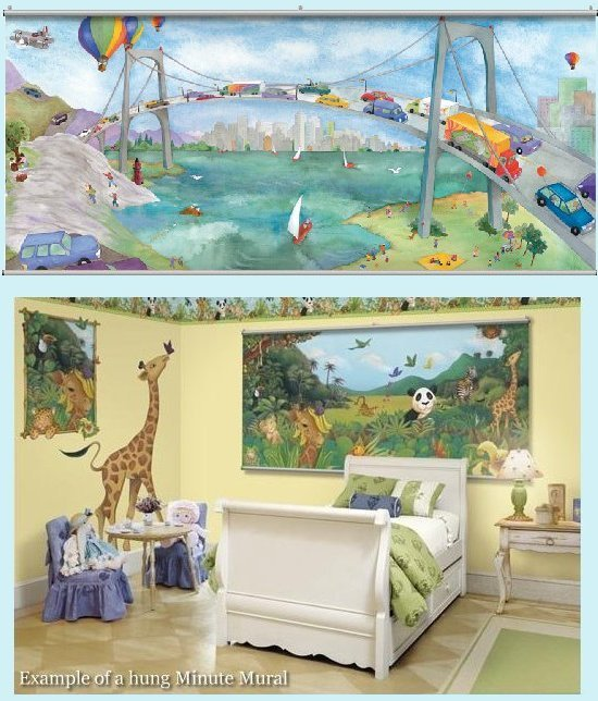 Watercolor Journey Bridge Wall Minute Mural - Kids Wall Decor Store