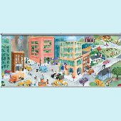 Watercolor Journey City Wall Minute Mural