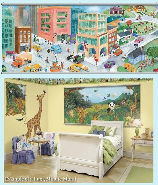 Watercolor Journey City Wall Minute Mural - Kids Wall Decor Store