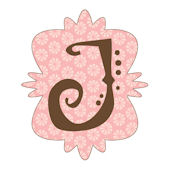 Mod Monogram J Pink and Chocolate Wall Sticker