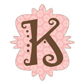 Mod Monogram K Pink and Chocolate Wall Sticker
